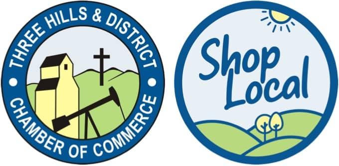 Three Hills Chamber and Kneehill Shop Local logos